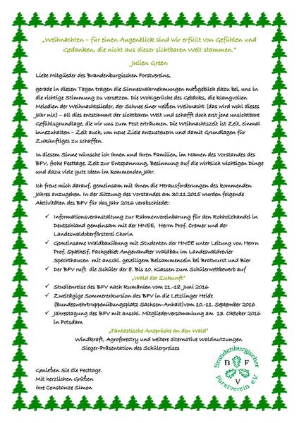Weihnachtsgrüße An Erzieherinnen.Bfv Mitgliederinfo Weihnachtsgrüße